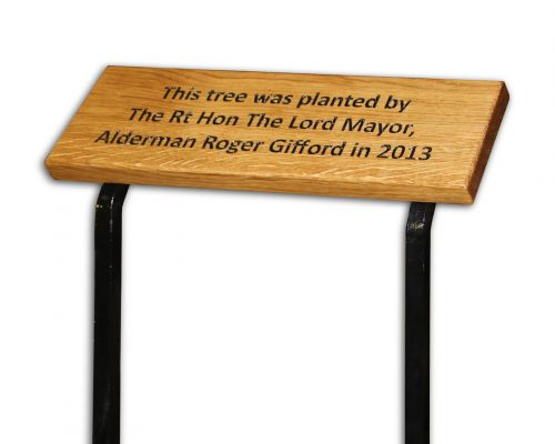 Memorial Plaque - Wood on Metal Stakes