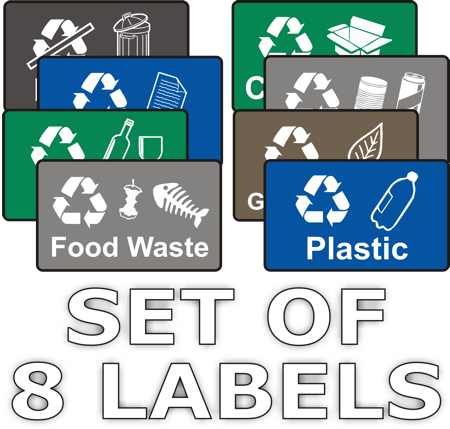 graphic about Printable Recycling Signs identified as Recycling Stickers - Fastened of 8 - Natural and organic Signs or symptoms