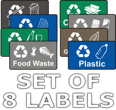 photograph relating to Recycling Sign Printable named Recycling Stickers - Established of 8 - Organic and natural Indications